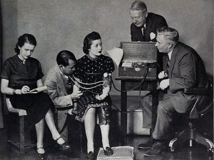 Marston (extrema direita) aplicando teste do polígrafo enquanto Olive Byrne (extrema esquerda) anota as respostas.
